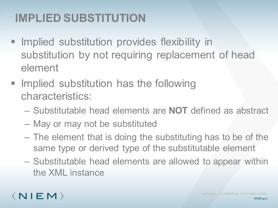  Implied substitution provides flexibility in substitution by not requiring replacement of head element  Implied substitution has the following char