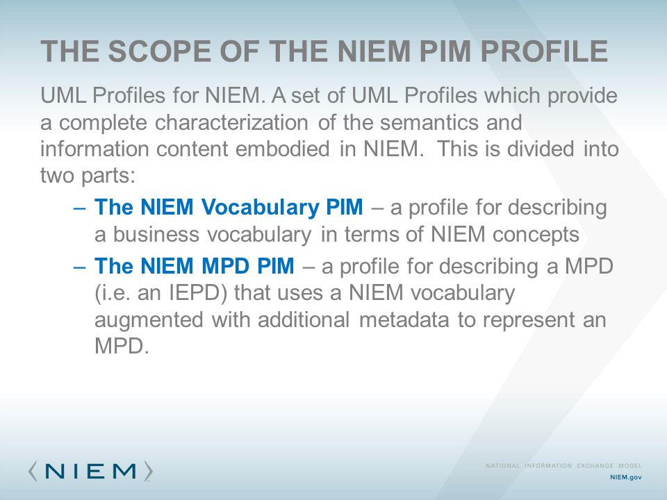 THE SCOPE OF THE NIEM PIM PROFILE UML Profiles for NIEM.