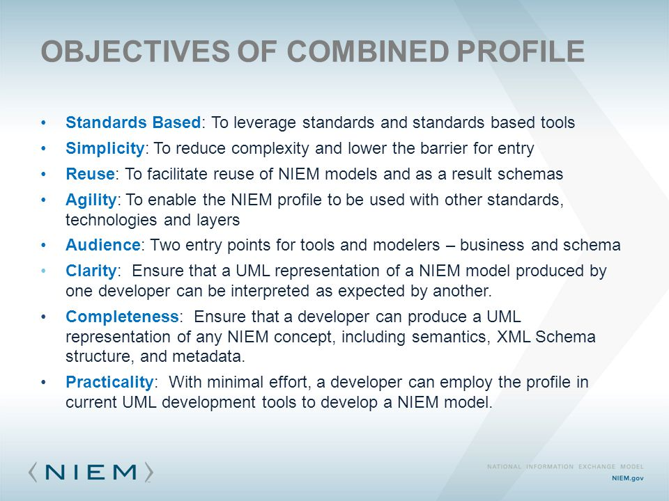 OBJECTIVES OF COMBINED PROFILE Standards Based: To leverage standards and standards based tools Simplicity: To reduce complexity and lower the barrier