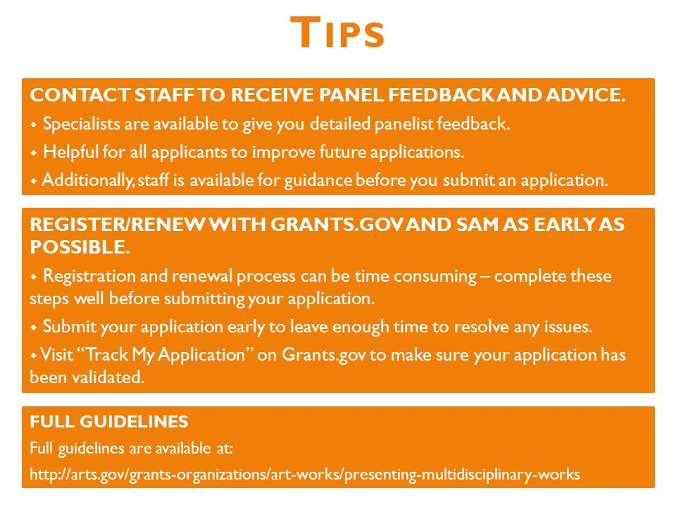 CONTACT STAFF TO RECEIVE PANEL FEEDBACK AND ADVICE.
