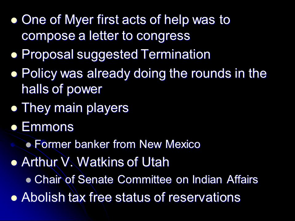 One of Myer first acts of help was to compose a letter to congress One of Myer first acts of help was to compose a letter to congress Proposal suggest
