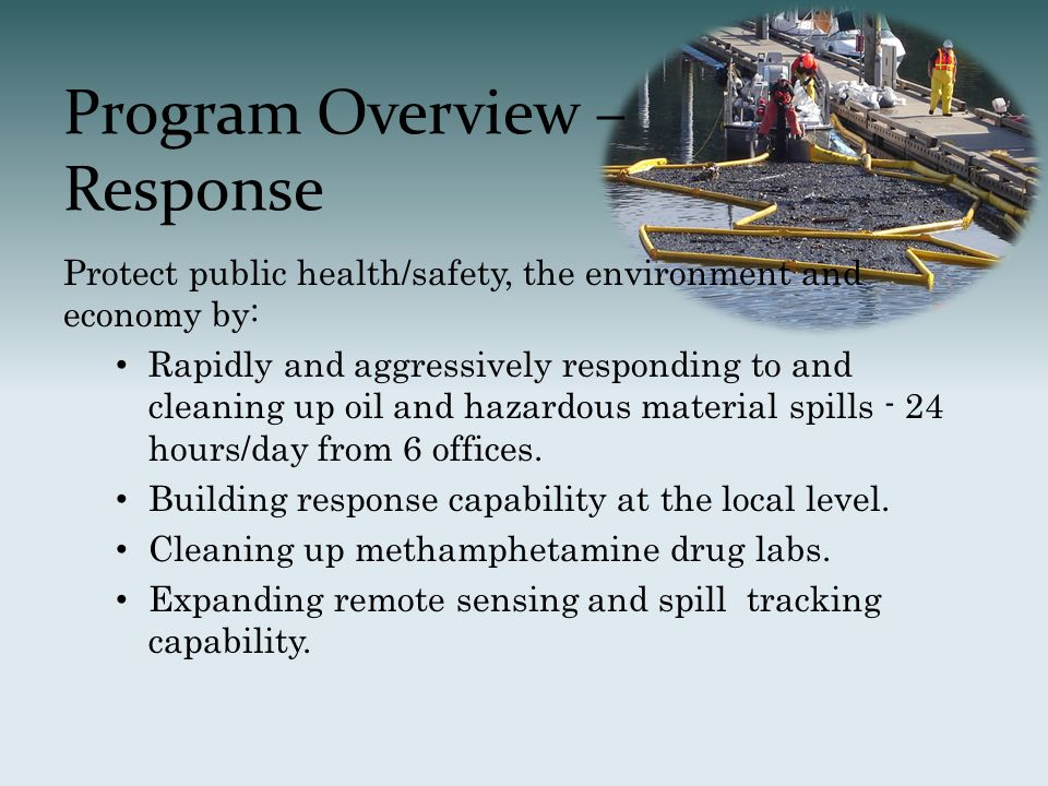 Program Overview – Response Protect public health/safety, the environment and economy by: Rapidly and aggressively responding to and cleaning up oil and hazardous material spills - 24 hours/day from 6 offices.