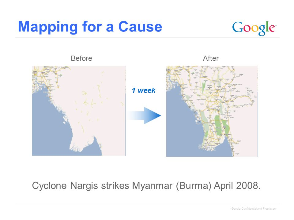 Mapping for a Cause 1 week Cyclone Nargis strikes Myanmar (Burma) April 2008. BeforeAfter