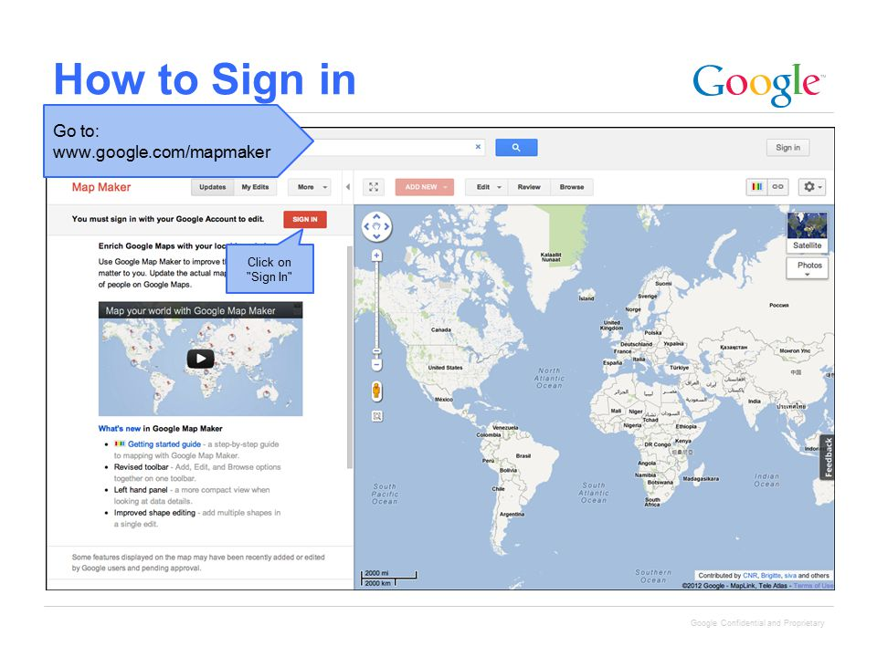 Google Confidential and Proprietary How to Sign in Click on