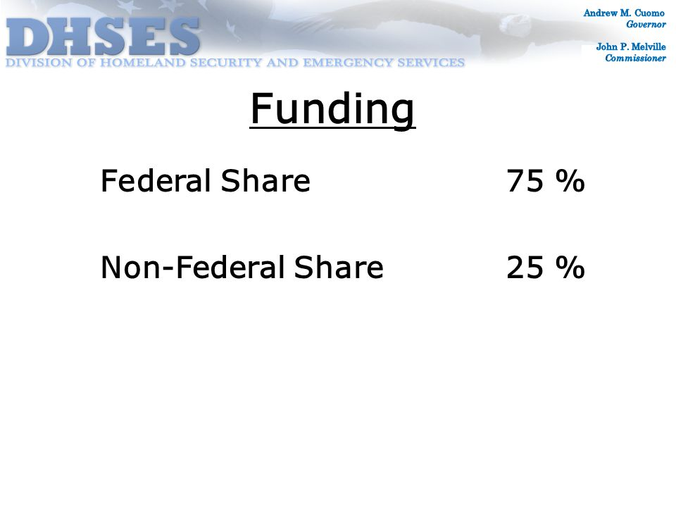 Federal Share 75 % Non-Federal Share25 % Funding