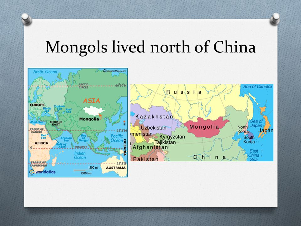 Mongols lived north of China