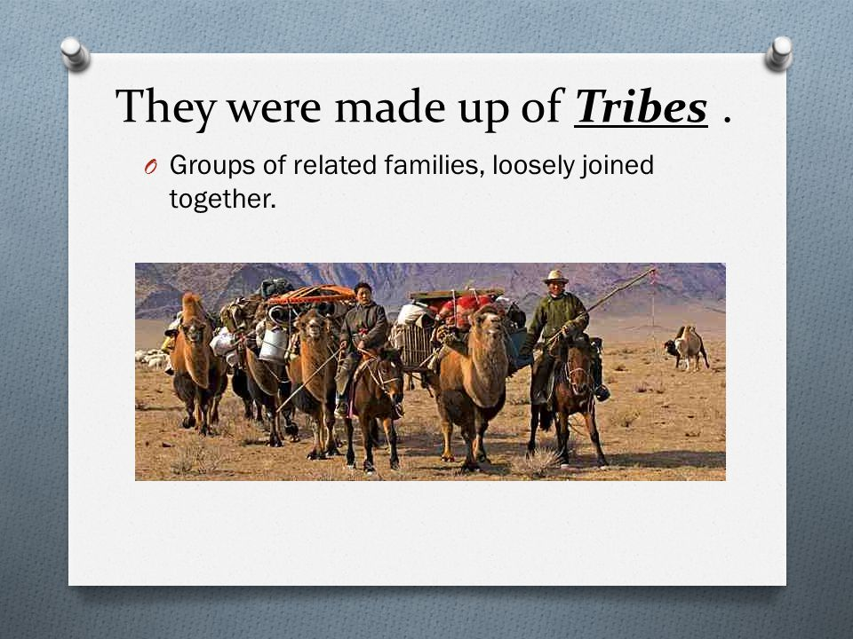 They were made up of Tribes. O Groups of related families, loosely joined together.