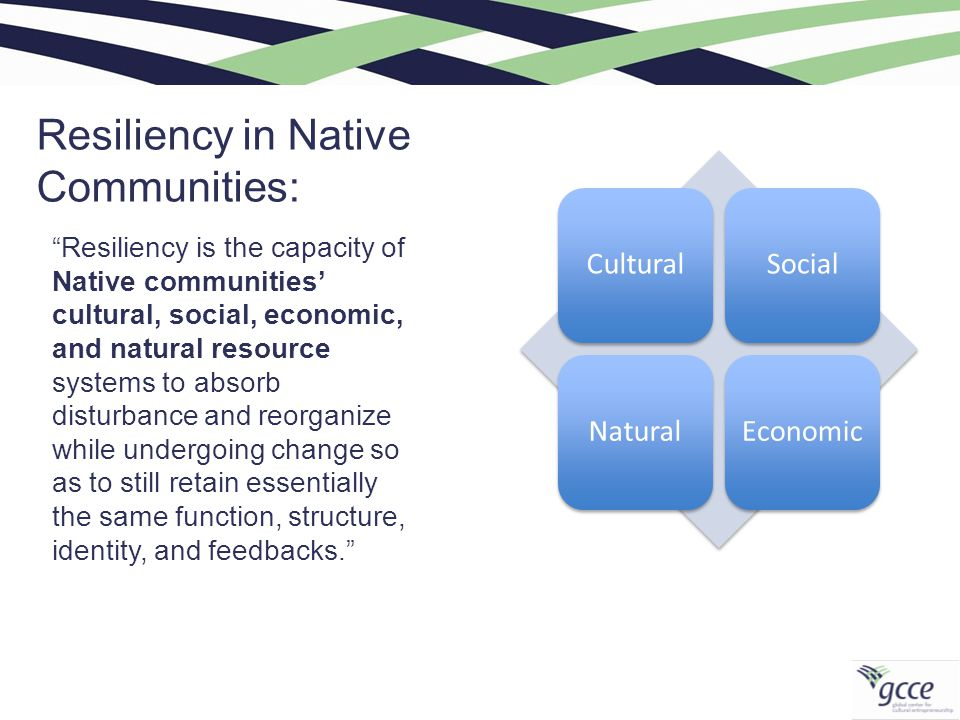 Resiliency in Native Communities: CulturalSocialNaturalEconomic Resiliency is the capacity of Native communities' cultural, social, economic, and natural resource systems to absorb disturbance and reorganize while undergoing change so as to still retain essentially the same function, structure, identity, and feedbacks.