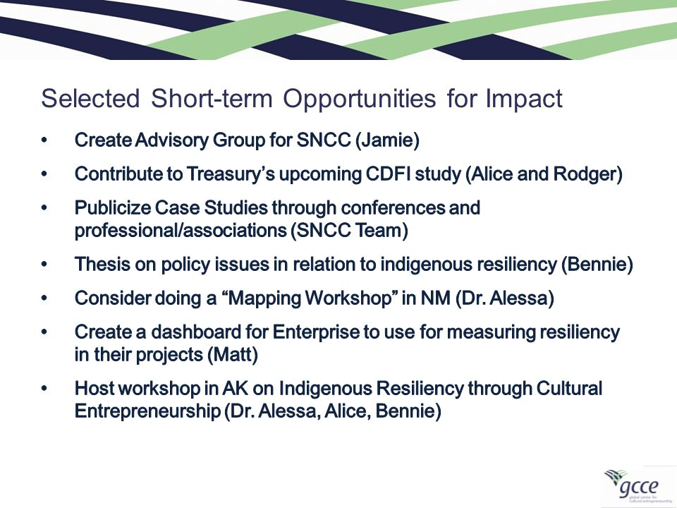 Selected Short-term Opportunities for Impact