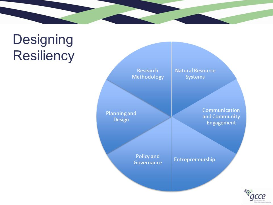 Designing Resiliency Natural Resource Systems Communication and Community Engagement Entrepreneurship Policy and Governance Planning and Design Research Methodology