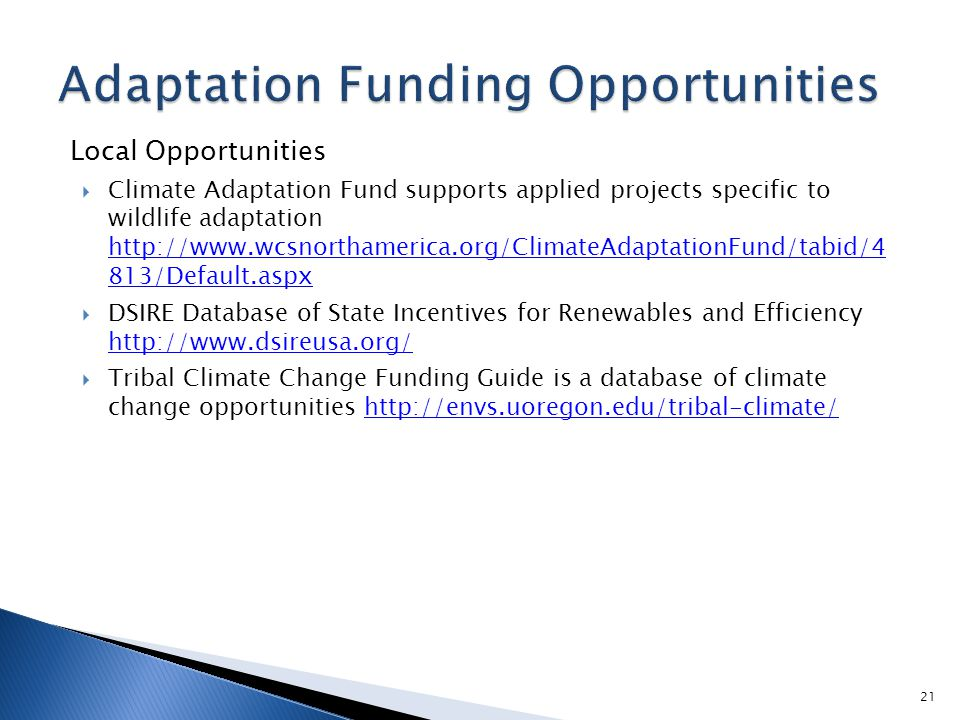Local Opportunities  Climate Adaptation Fund supports applied projects specific to wildlife adaptation http://www.wcsnorthamerica.org/ClimateAdaptationFund/tabid/4 813/Default.aspx http://www.wcsnorthamerica.org/ClimateAdaptationFund/tabid/4 813/Default.aspx  DSIRE Database of State Incentives for Renewables and Efficiency http://www.dsireusa.org/ http://www.dsireusa.org/  Tribal Climate Change Funding Guide is a database of climate change opportunities http://envs.uoregon.edu/tribal-climate/http://envs.uoregon.edu/tribal-climate/ 21