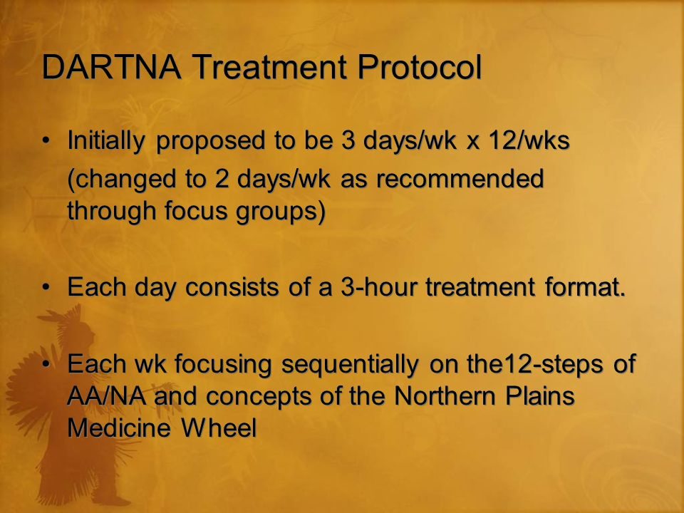 DARTNA Treatment Protocol Initially proposed to be 3 days/wk x 12/wks (changed to 2 days/wk as recommended through focus groups) Each day consists of a 3-hour treatment format.