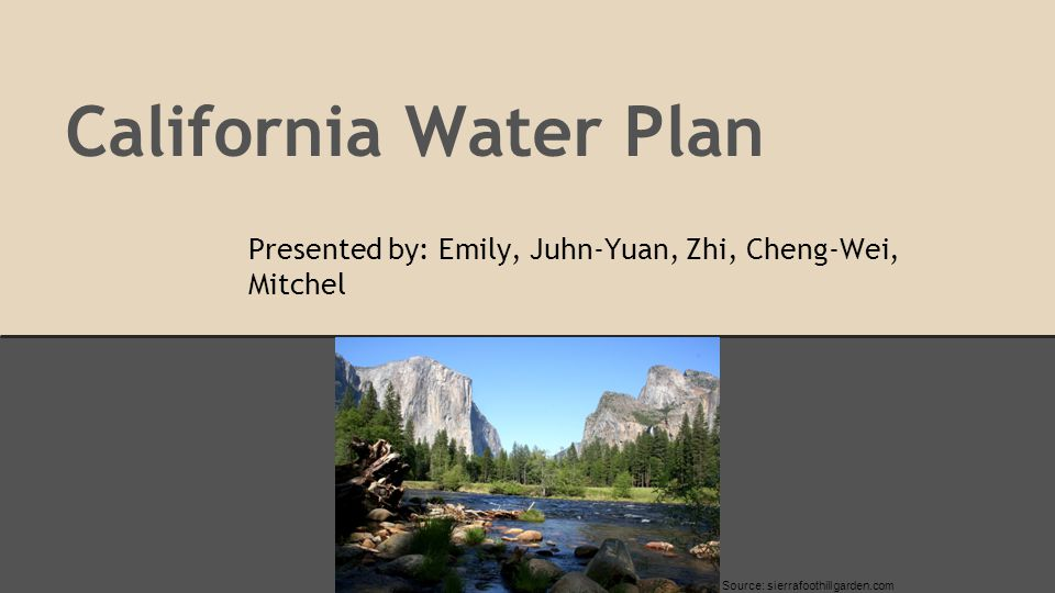 Organization 1.Process and Structure of California Plan: Juhn-Yuan Su 2.Demand Management: Mitchell Bartolo 3.Economic Incentives: Cheng-Wei Yu 4.Environmental Flows: Zhi Li 5.Climate Change: Emily Palmer
