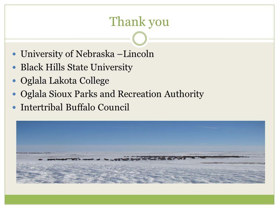 Thank you University of Nebraska –Lincoln Black Hills State University Oglala Lakota College Oglala Sioux Parks and Recreation Authority Intertribal Buffalo Council
