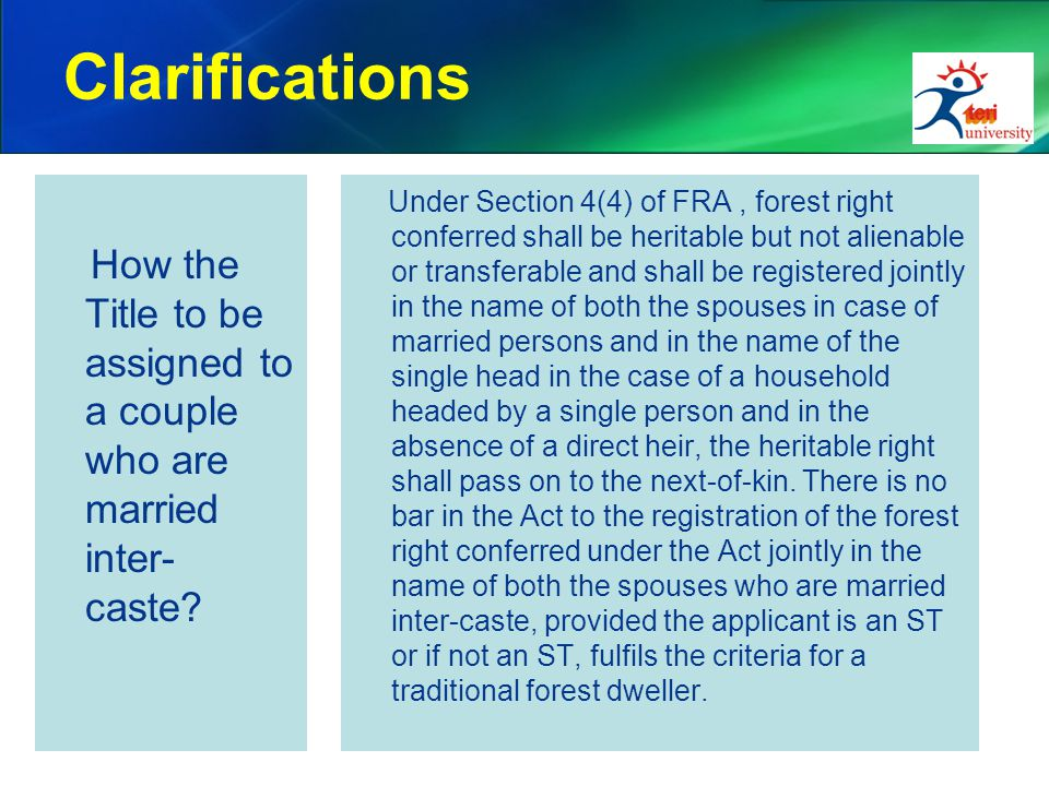 Clarifications How the Title to be assigned to a couple who are married inter- caste.