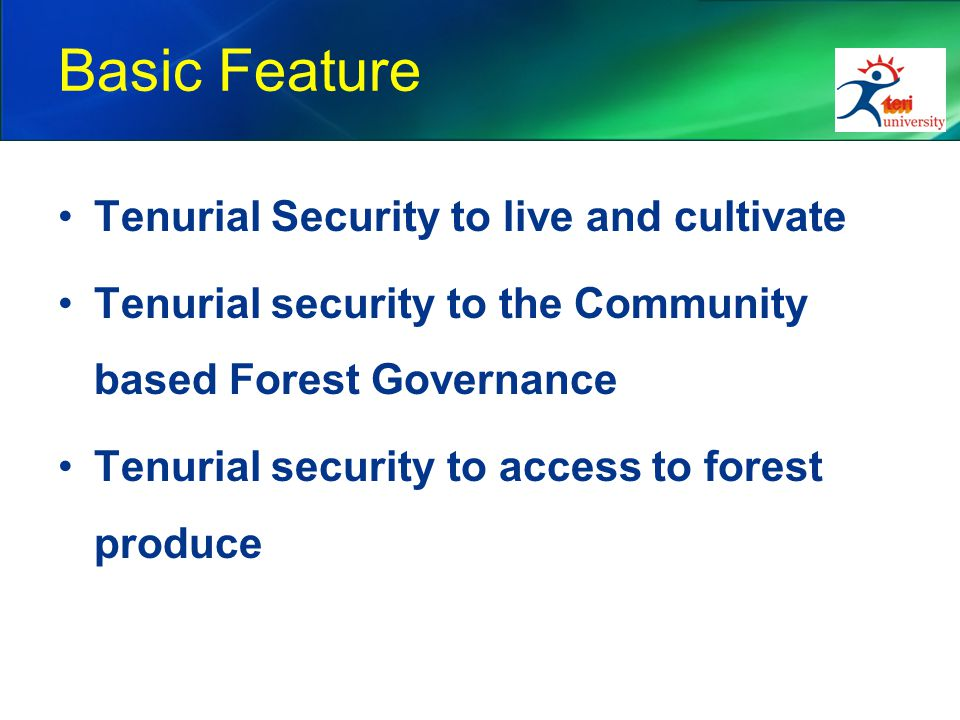 Basic Feature Tenurial Security to live and cultivate Tenurial security to the Community based Forest Governance Tenurial security to access to forest