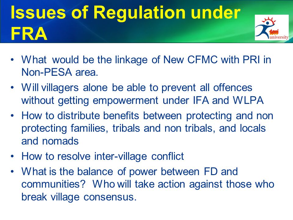 Issues of Regulation under FRA What would be the linkage of New CFMC with PRI in Non-PESA area.