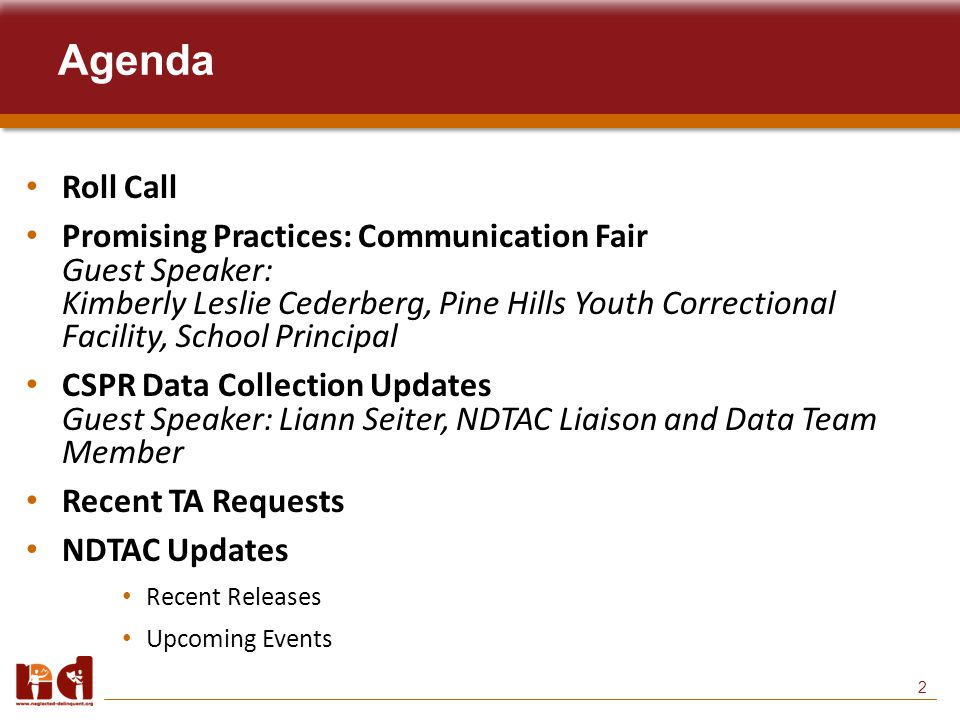 2 Agenda Roll Call Promising Practices: Communication Fair Guest Speaker: Kimberly Leslie Cederberg, Pine Hills Youth Correctional Facility, School Principal CSPR Data Collection Updates Guest Speaker: Liann Seiter, NDTAC Liaison and Data Team Member Recent TA Requests NDTAC Updates Recent Releases Upcoming Events