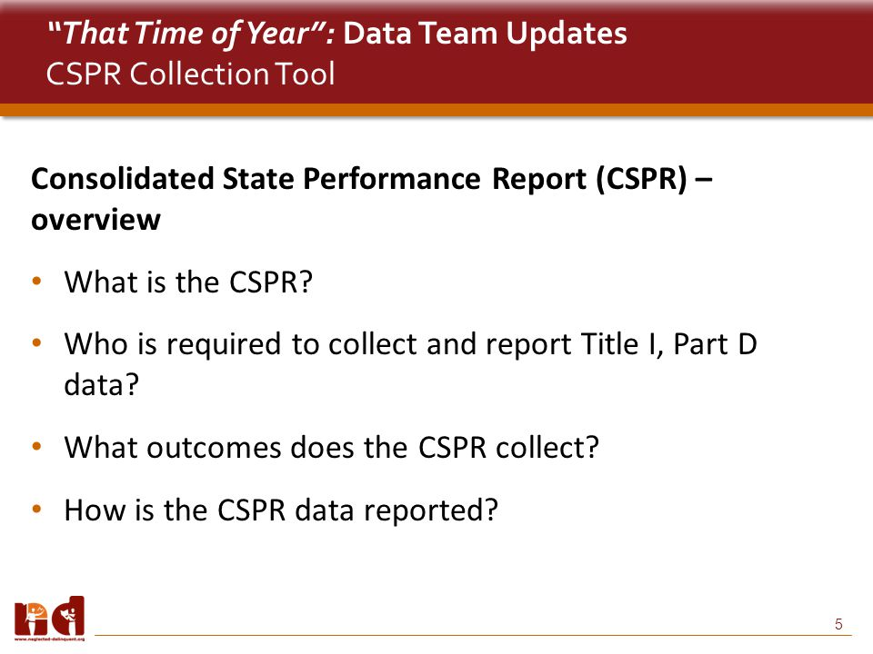 5 That Time of Year : Data Team Updates CSPR Collection Tool Consolidated State Performance Report (CSPR) – overview What is the CSPR.