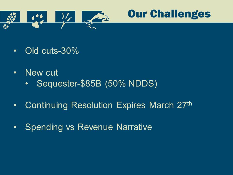 Our Challenges Old cuts-30% New cut Sequester-$85B (50% NDDS) Continuing Resolution Expires March 27 th Spending vs Revenue Narrative
