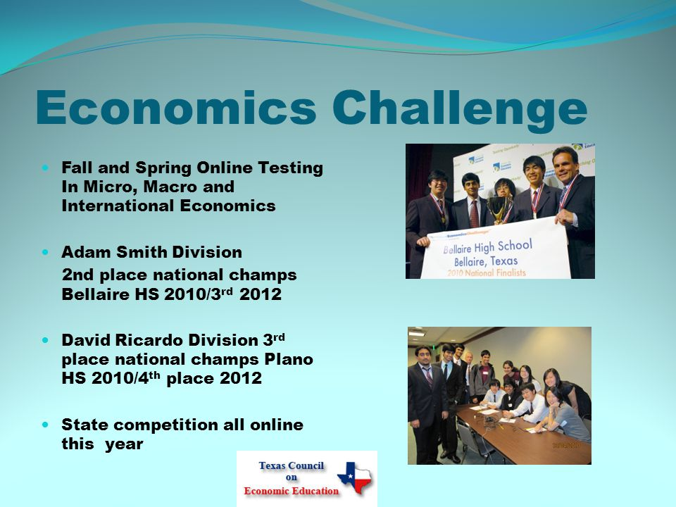 Economics Challenge Fall and Spring Online Testing In Micro, Macro and International Economics Adam Smith Division 2nd place national champs Bellaire