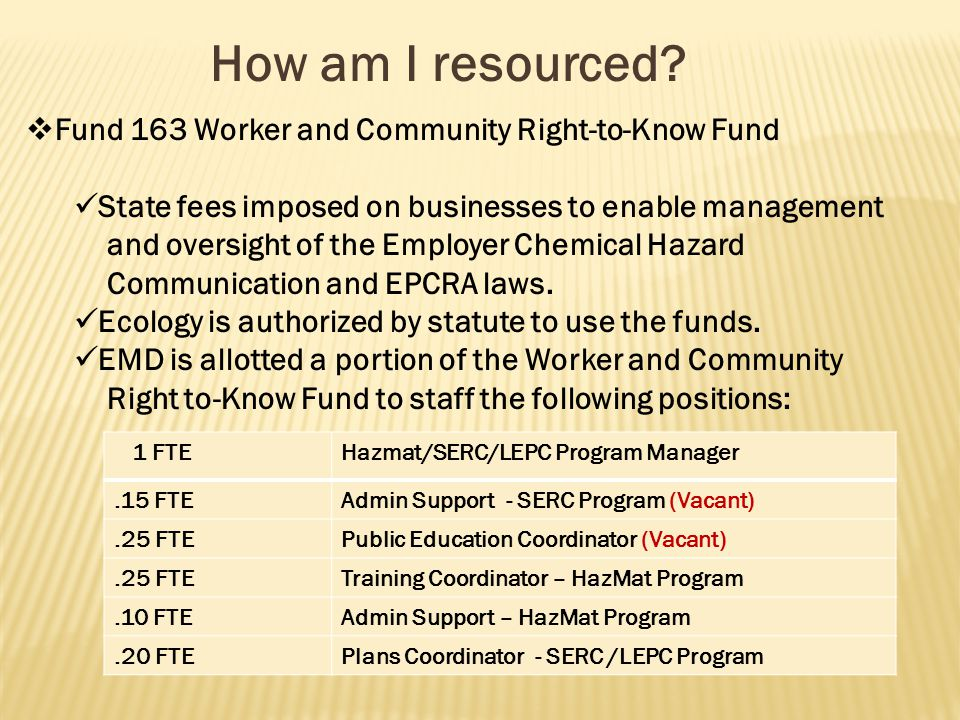 How am I resourced?  Fund 163 Worker and Community Right-to-Know Fund State fees imposed on businesses to enable management and oversight of the Empl