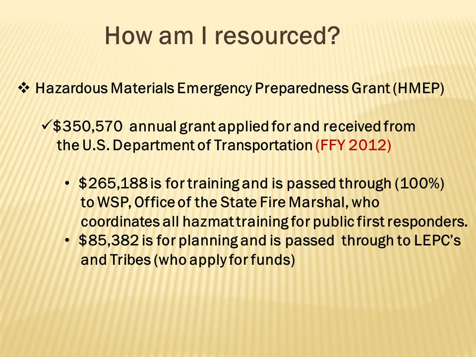 How am I resourced?  Hazardous Materials Emergency Preparedness Grant (HMEP) $350,570 annual grant applied for and received from the U.S. Department