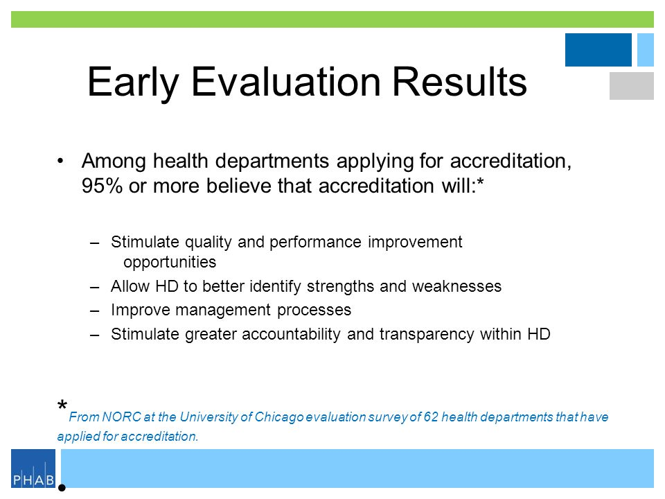 Early Evaluation Results Among health departments applying for accreditation, 95% or more believe that accreditation will:* –Stimulate quality and per