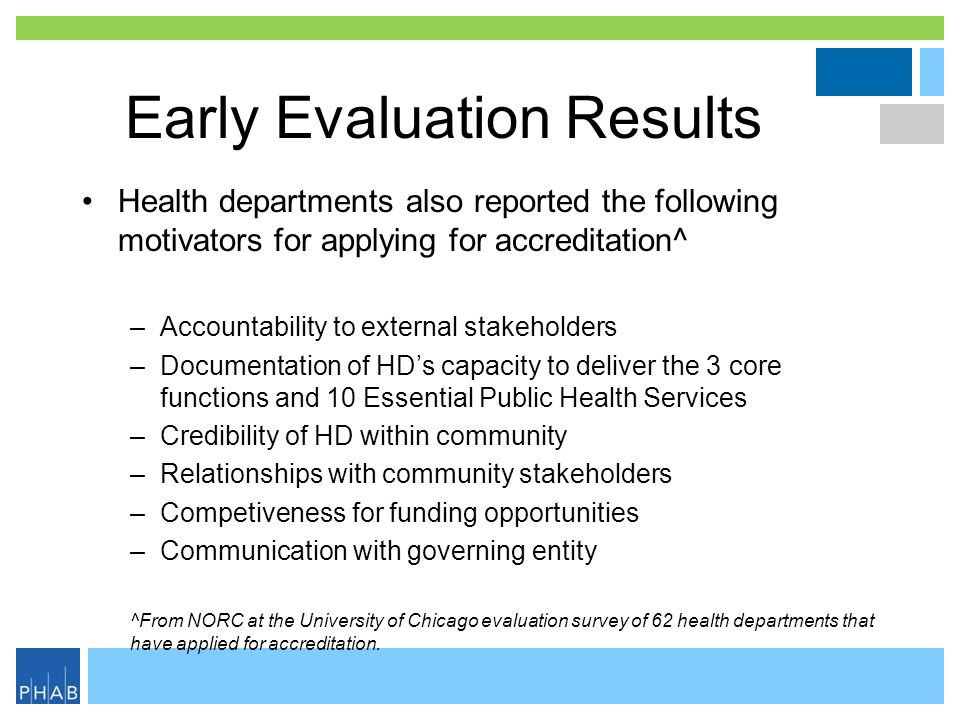Early Evaluation Results Health departments also reported the following motivators for applying for accreditation^ –Accountability to external stakeho
