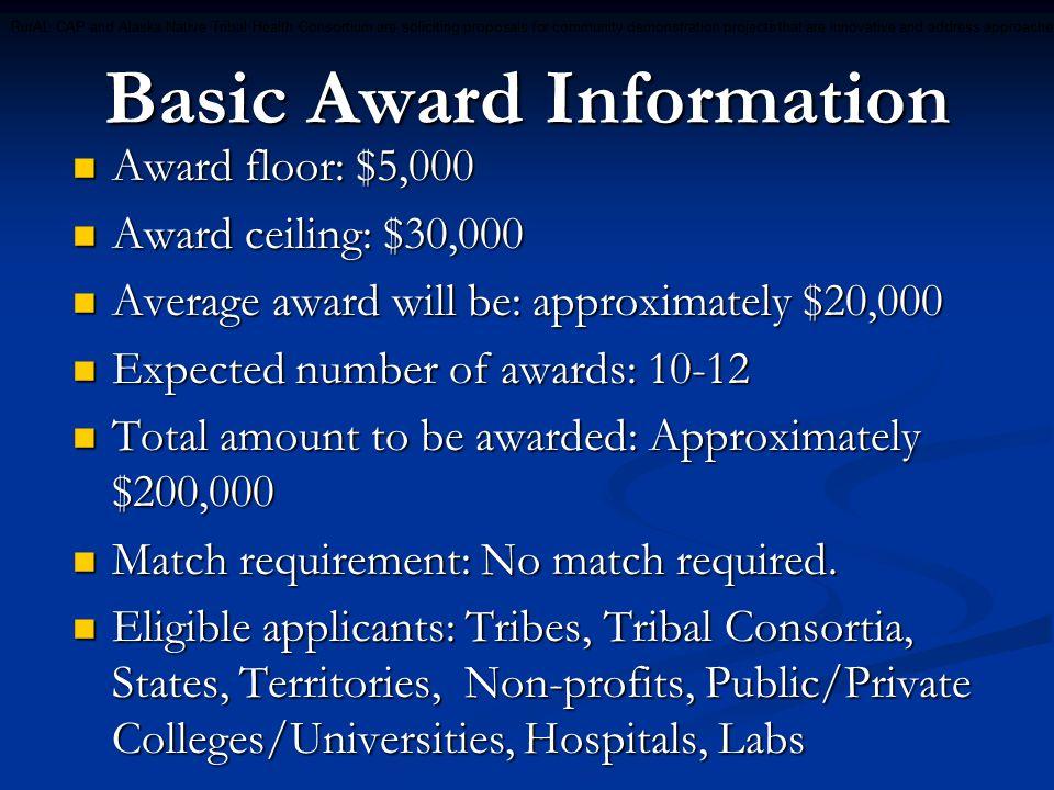 Basic Award Information Award floor: $5,000 Award floor: $5,000 Award ceiling: $30,000 Award ceiling: $30,000 Average award will be: approximately $20,000 Average award will be: approximately $20,000 Expected number of awards: 10-12 Expected number of awards: 10-12 Total amount to be awarded: Approximately $200,000 Total amount to be awarded: Approximately $200,000 Match requirement: No match required.