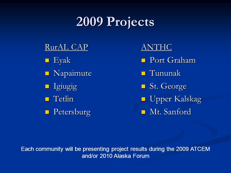 2009 Projects RurAL CAP Eyak Eyak Napaimute Napaimute Igiugig Igiugig Tetlin Tetlin Petersburg Petersburg ANTHC Port Graham Tununak St.