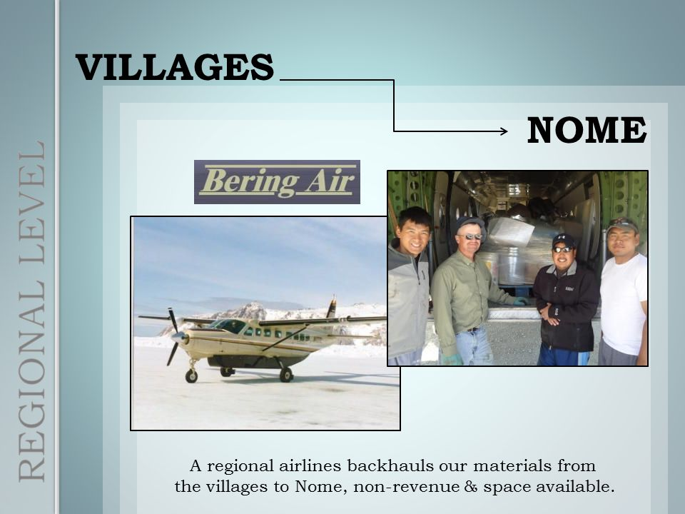 VILLAGES NOME A regional airlines backhauls our materials from the villages to Nome, non-revenue & space available.