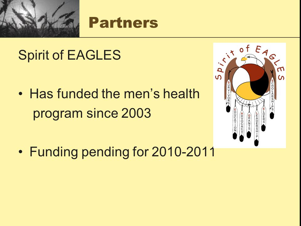 Partners Spirit of EAGLES Has funded the men's health program since 2003 Funding pending for 2010-2011