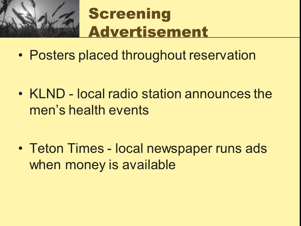 Screening Advertisement Posters placed throughout reservation KLND - local radio station announces the men's health events Teton Times - local newspaper runs ads when money is available