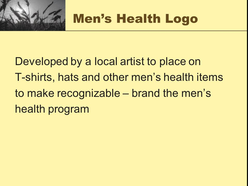 Men's Health Logo Developed by a local artist to place on T-shirts, hats and other men's health items to make recognizable – brand the men's health program