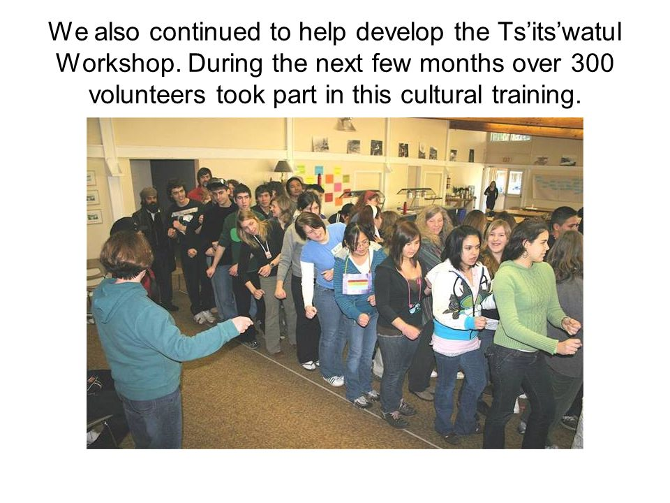 We also continued to help develop the Ts'its'watul Workshop.