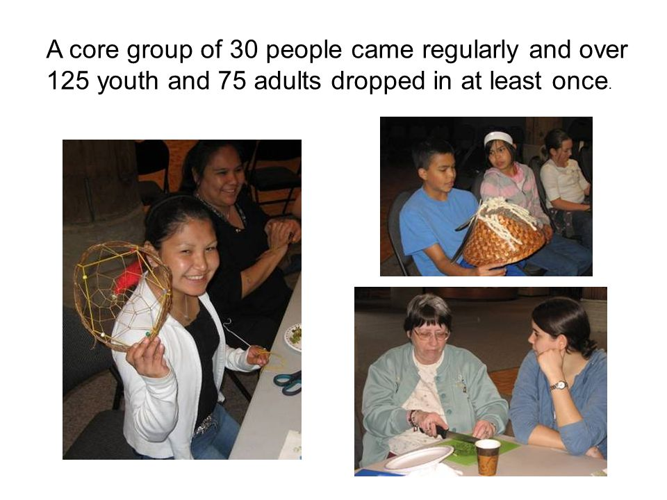 A core group of 30 people came regularly and over 125 youth and 75 adults dropped in at least once.