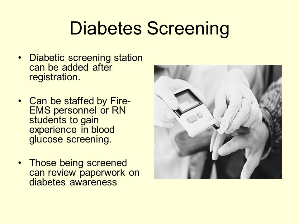 Diabetes Screening Diabetic screening station can be added after registration.