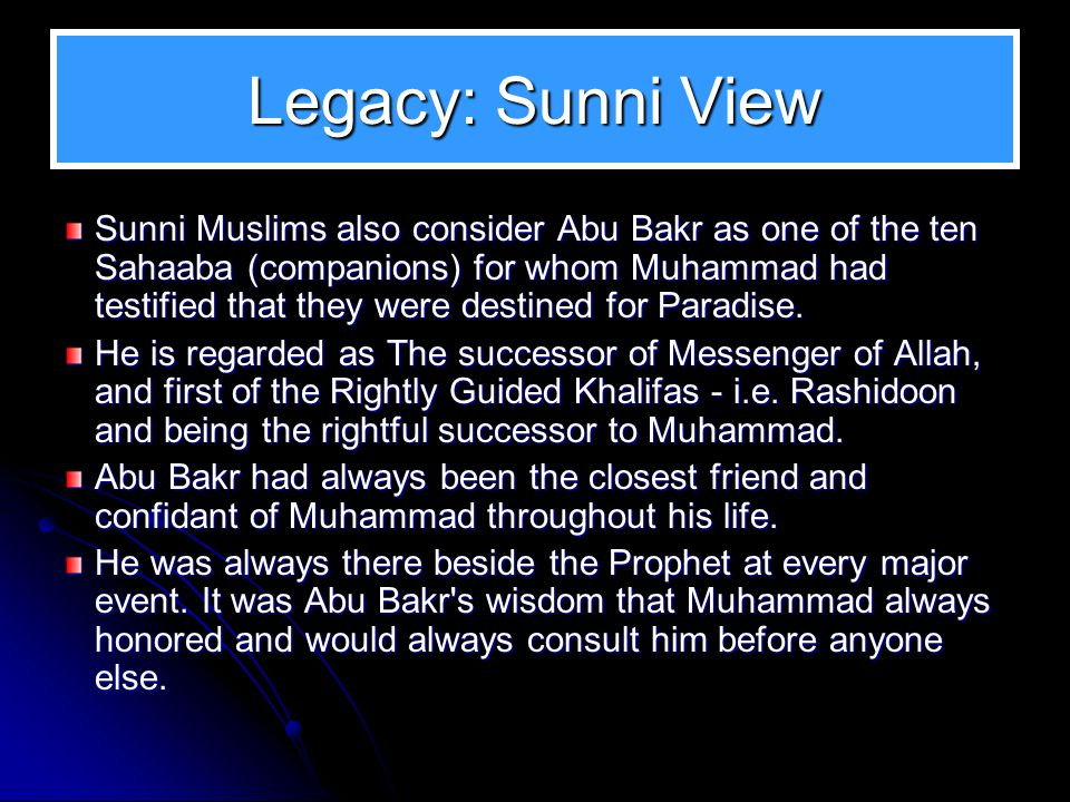 Abu Bakr's Vision Abu Bakr had an acute sense of evaluating people's capacity He saw in Khalid the genius of military acumen He saw the great potentia