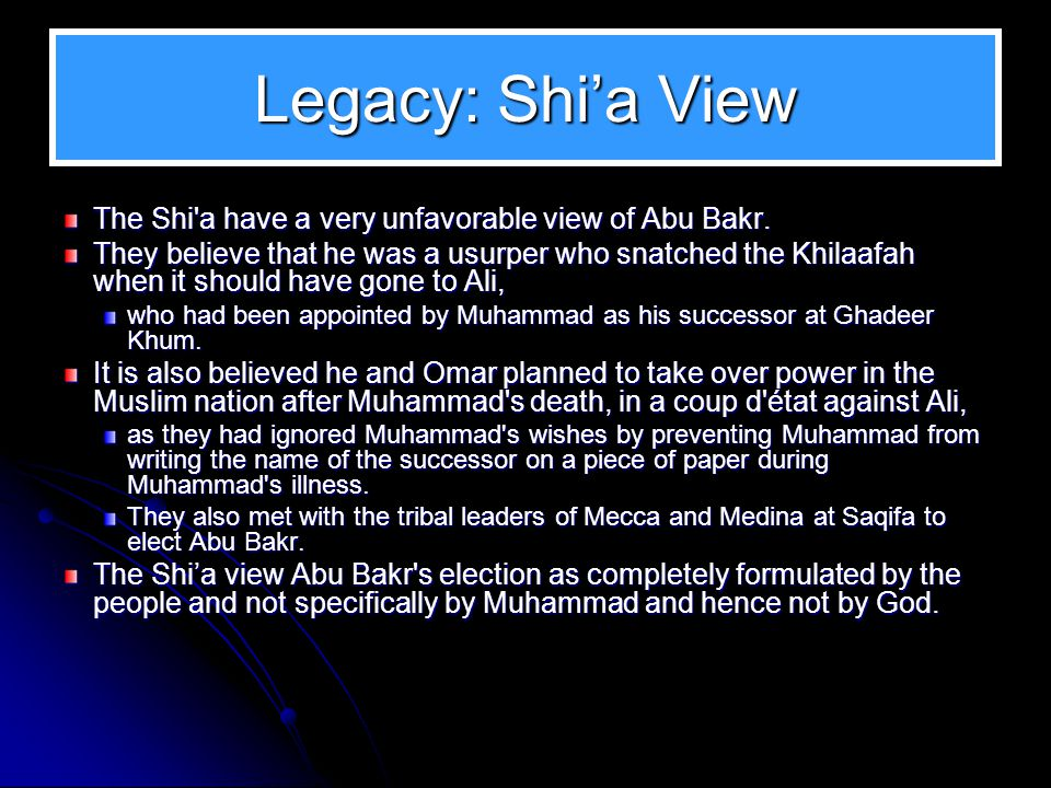 Legacy: Sunni View Upon Muhammad's death, it was Abu Bakr who demonstrated sagacity to keep the ranks of the Muslims together. Muhammad had not left b
