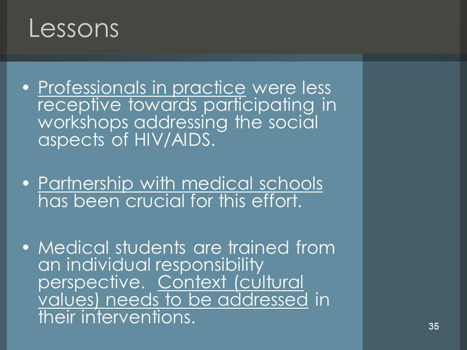 35 Lessons Professionals in practice were less receptive towards participating in workshops addressing the social aspects of HIV/AIDS.