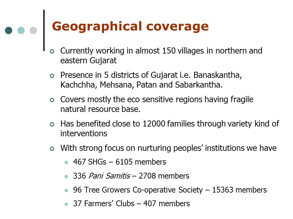 Geographical coverage Currently working in almost 150 villages in northern and eastern Gujarat Presence in 5 districts of Gujarat i.e.