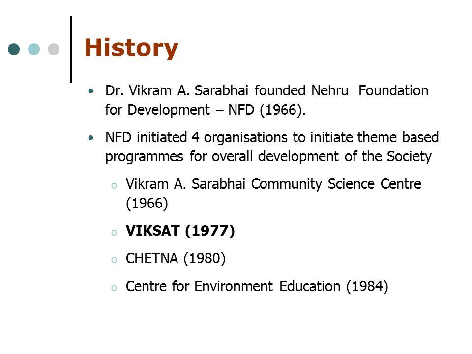 History Dr. Vikram A. Sarabhai founded Nehru Foundation for Development – NFD (1966).