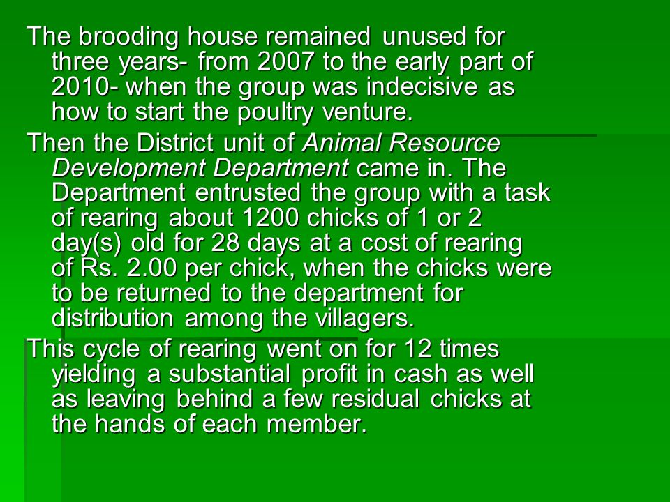 The brooding house remained unused for three years- from 2007 to the early part of 2010- when the group was indecisive as how to start the poultry venture.