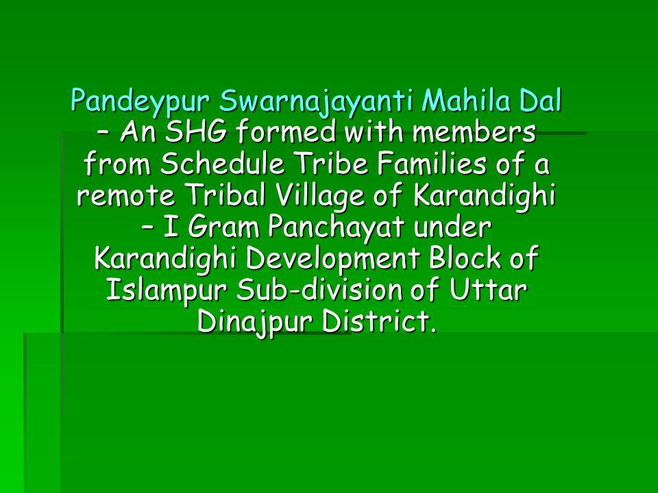 Pandeypur Swarnajayanti Mahila Dal – An SHG formed with members from Schedule Tribe Families of a remote Tribal Village of Karandighi – I Gram Panchayat under Karandighi Development Block of Islampur Sub-division of Uttar Dinajpur District.