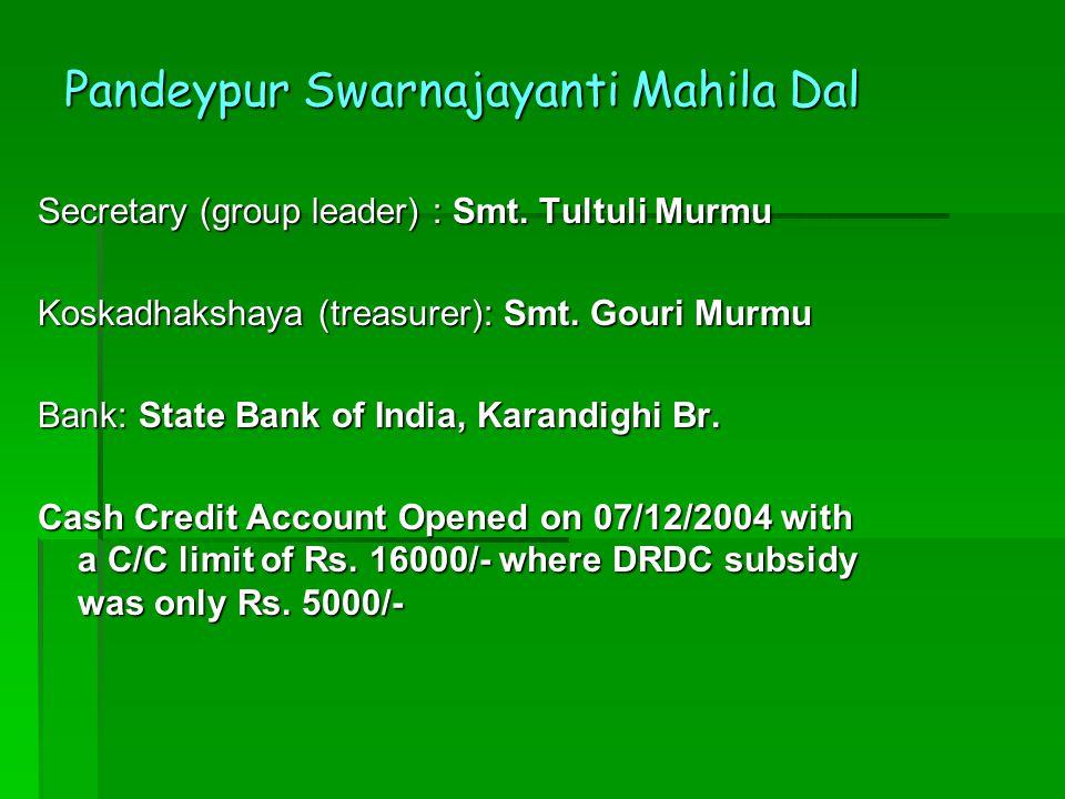 Pandeypur Swarnajayanti Mahila Dal Secretary (group leader) : Smt.