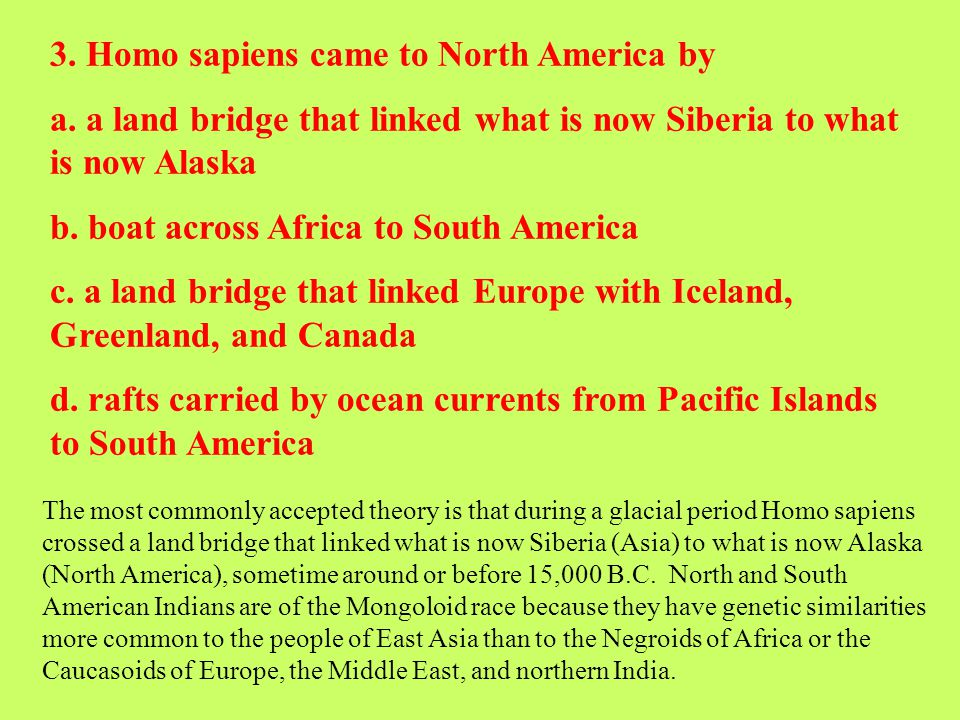 3. Homo sapiens came to North America by a. a land bridge that linked what is now Siberia to what is now Alaska b. boat across Africa to South America