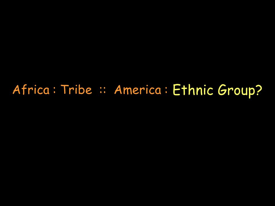 Africa : Tribe :: America : Ethnic Group