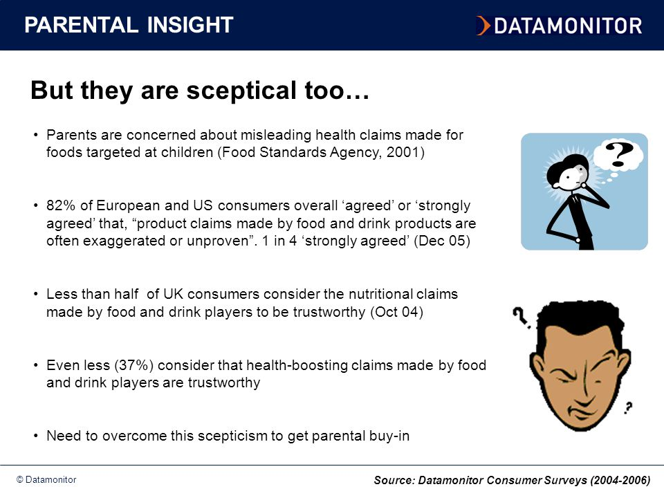© Datamonitor But they are sceptical too… PARENTAL INSIGHT Parents are concerned about misleading health claims made for foods targeted at children (Food Standards Agency, 2001) 82% of European and US consumers overall 'agreed' or 'strongly agreed' that, product claims made by food and drink products are often exaggerated or unproven .