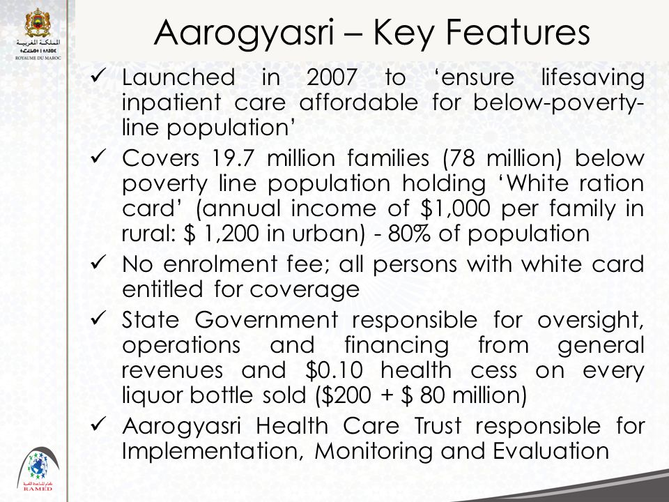 Aarogyasri – Key Features Launched in 2007 to 'ensure lifesaving inpatient care affordable for below-poverty- line population' Covers 19.7 million fam